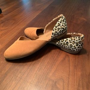 Toms Carmel Brown Suede Leopard Julie D'Orsay Flat